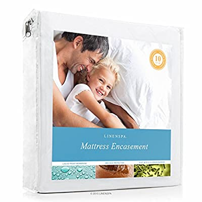 LINENSPA Zippered Encasement Waterproof, Dust Mite Proof, Bed Bug Proof Breathable Mattress Protector