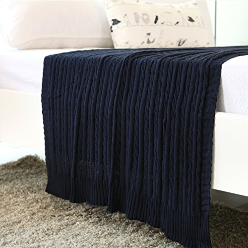 iSunShine® Cotton Knitted Cable Throw Soft Warm Cover Blanket Cable Knitting Pattern, 70*78 Inches, Navy (Cable Knit Blanket Full compare prices)
