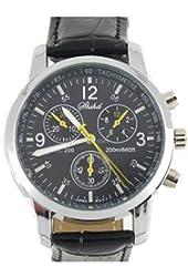 Fashionable Leather Band Men's Quartz Wrist Watch (Black)