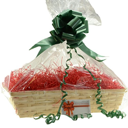 Christmas Basket, Beale Large, Red Shred, Green Bow, Christmas greeting Card,cellophane bag, DIY Hamper Kit, storage basket,