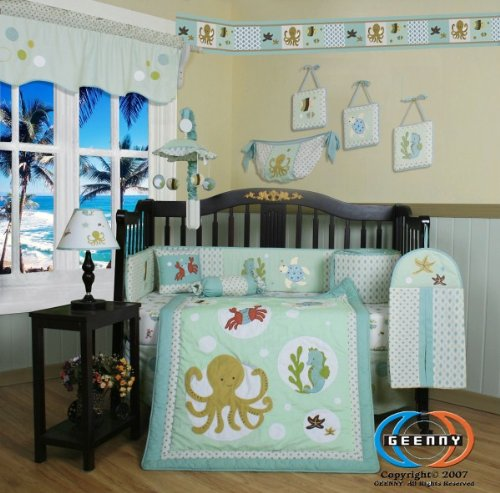 Boutique Beautiful Sea World Animals 13PCS CRIB BEDDING SET