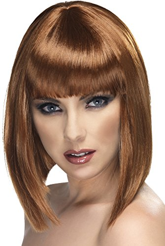 Smiffy's Glam Wig, Brown, One Size