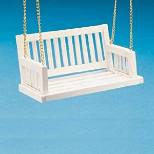 Dollhouse Miniature White Porch Swing