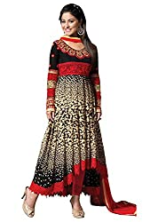 Kashmira Women's Faux Georgette Embroidered Unstitched Salwar Kameez (kas11002_Black And Red_Free Size)