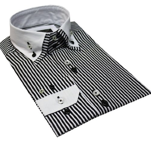 Italian Design Men Formal Casual Shirts Double Collar Button Down Black Stripe