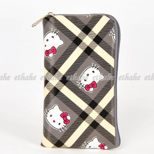 Hello Kitty Checks Mobile Cell Phone Holder Gray