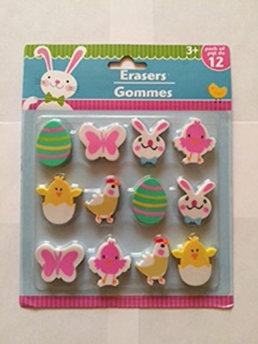 Easter Themed Eraser & Pencil Set - Easter Eggs, Butterflies, Bunny Rabbit, Baby Chicks and (Chicken Egg Bag)