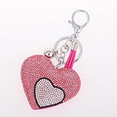 Amybria Coeur Doux Forme Porte-clés Accessoire en Cristal Trousseau Homard Amovible Crochet de Fermeture Pendentifs Décoration pour le Sac Voiture de Bourse