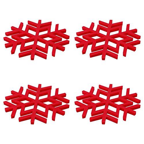 Casa Bonita Tovagliette e Sottobicchieri Natalizi fiocco tavola Tappetini in silicone rosso di Babbo Natale tovagliette all' americana 4in uno
