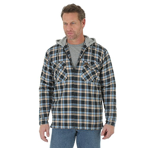 Wrangler RIGGS WORKWEAR Men's Hooded Flannel Jacket, Black, Large (Riggs Hooded Flannel Jacket compare prices)