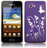 PURPLE BUTTERFLY DESIGN HARD BACK CASE FOR SAMSUNG GALAXY S ADVANCE I9070 + FREE SCREEN PROTECTOR