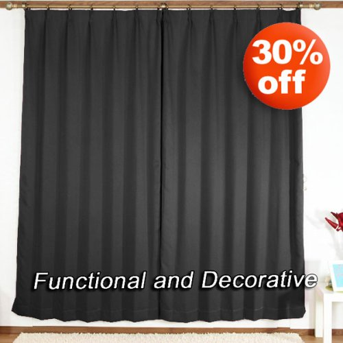 "Pinch Pleated Thermal Insulated Blackout Curtain 84""L-1Set-BLACK"