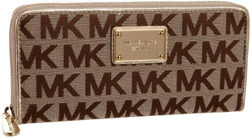 Michael Michael Kors Mk Logo Zip-Around Continental Wallet,Beige/Ebony/Gold,One Size