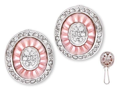 Beautiful Carved Pink Mother-Of-Pearl C.Z. Diamond Oval Earrings