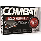 Combat Source Kill 5, Kills Small & Large Roaches At Their Source, Kills Roaches for 3 Months, 12 BAIT STATIONS (Color: Plain, Tamaño: Small & Large Roach (12 Count))