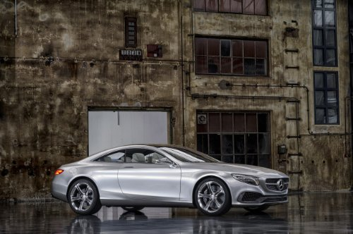 """Mercedes-Benz S-Class Coupé Concept (2013) Car Art Poster Print On 10 Mil Archival Satin Paper Silver Front Side Static View 36""""X24"""""""
