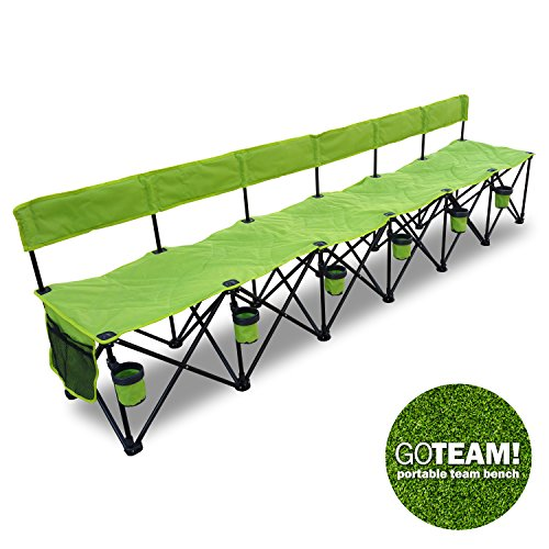 GoTeam Pro 6 Seat Portable Folding Team Bench - Green
