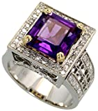 14k White Gold Ring, w/ 0.89 Carat Brilliant Cut Diamonds & 4.82 Carats (10mm) Princess Cut Amethyst Stone, 9/16 in. (15mm) wide