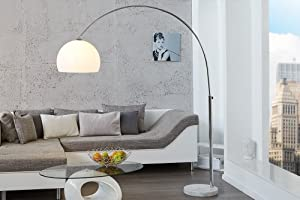 LOUNGE DEAL Designer Floor Lamp Marble Base 175 cm to 205 cm Extendible by Riess Ambiente