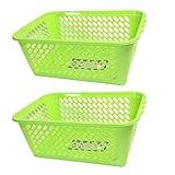 Set of 2 Multipurpose Storage Basket, Lightweight Plastic, BPA Free (GREEN)