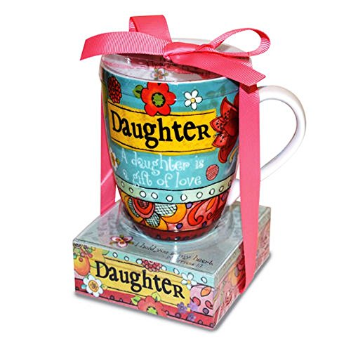 Daughter is a Gift of Love 12 ounce Ceramic Mug and Paper Note Stack Gift Set