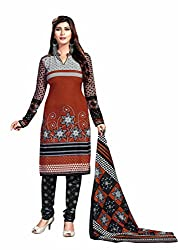 Aarti Apparels Women's Cotton Unstitched Dress Material _MAHARANI-20_Brown and Black