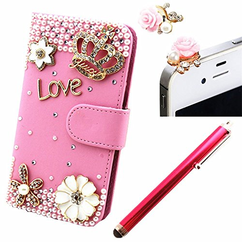 Vandot 3 In1 Accessory Set Cover Phone Case For Smartphone Apple Iphone 6 Plus 5.5 Inch 3D Bling Rhinestone Flip Leather Skin Cover Pouch Glitter Magnet Pu Flower Diamond Love Flip Case Camellia Diamond Crown Crown 3D Case Crystal Mobile Phone Cover Case front-979796
