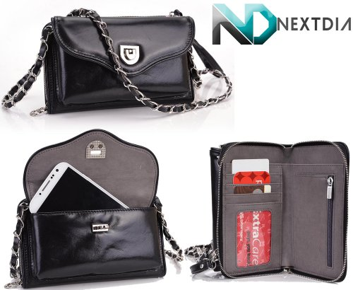 Samsung Galaxy S5 Genuine Black Leather Crossbody Purse Clutch Black With Grey Suede Interior With Credit Card Holder & Nd Cable Organizer