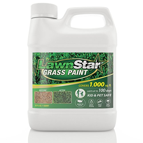 Lawn Star Grass Paint, 32 fl. oz. - Makes Grass Green Again - The Non-Toxic Solution for Water Restrictions & Drought - Skyrocket Your Curb Appeal Today! (Covers 500-1,000 sq. ft.)
