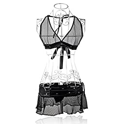 Museya Sexy See-through Mesh Pattern Halter-neck Style Sexy Underwear Lingerie Set - Free Size (Black)