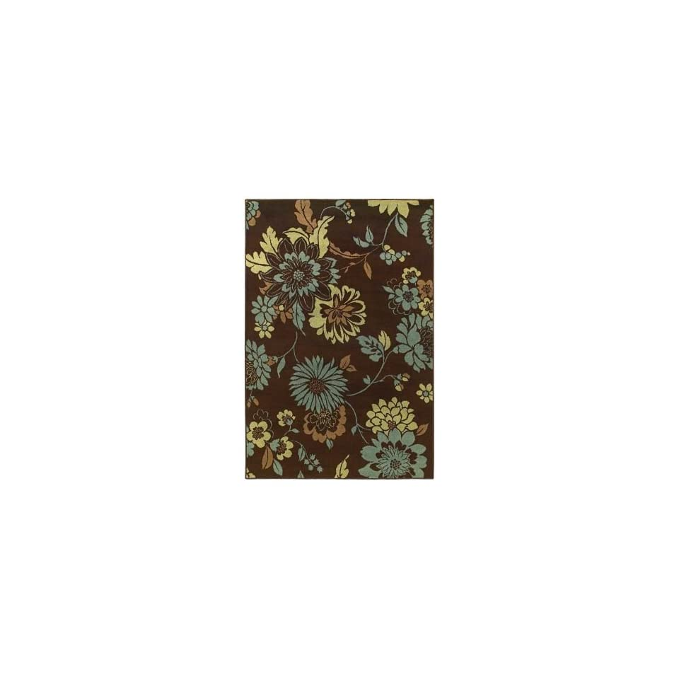 Concepts Flora Vista Brown/Blue Rug Rug Size Runner 111 x 76
