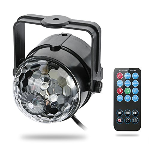 3W Led Stage Projector Lights RGB Sound Actived Crystal Magic Mini Rotating Led Par Lighting for Xmas Party Wedding Show Club Pub Disco DJ(with control)