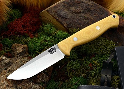 Bark River Gunny Hunter Fixed Blade Knife,3V Steel Blade,Antique Ivory Micarta Handle