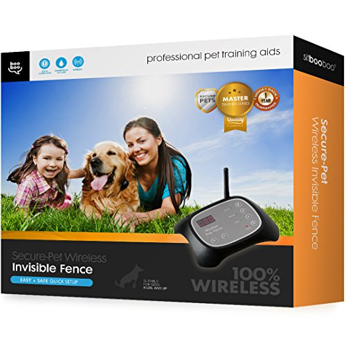 Secure-Pet Invisible & 100% Wireless Fence and Containment System with 2 Collars - Waterproof - Easy Setup - Plug 'n...