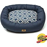 West Paw Design Bumper Bed Stuffed Dog Bed, Cobalt/Cobalt Groove, Medium