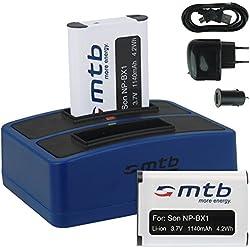 2x Baterías + Cargador doble (USB/Coche/Corriente) para Sony NP-BX1 / Sony Action Cam HDR-AS10, AS15, AS20, AS30(V), AS100V, AS200V / FDR-X1000V... v. lista