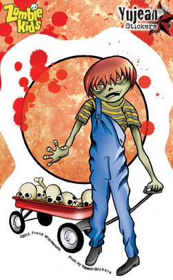 "Frank Wiedemann - Icky Little Zombie Kid Douglas Red etiket Sticker - 3.5 x 5"" - Weather Resistant, Long Lasting for Any Surface"