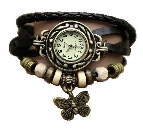 SHVAS -- Leather Bracelet Watch - Analog Display - Off White Dial - for women with FREE GIFT [an exquisite & elegant finger ring]