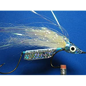 NEW FLIES Holographic & Glow in the Dark Tandem Hook Bass & Pike Sinking Head Fly #59