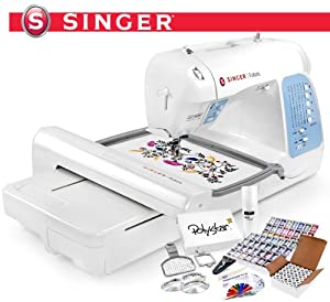 Singer Futura XL400 (XL 400) Computerized Sewing & Embroidery Machine and Grand Slam Package Includes 63 Embroidery Threads with Snap Spools + 144 Prewound Bobbins + Cap Hoop + Sock Hoop + Stabilizer + 15,000 Embroidery Designs + Scissors ($1,170 Value)
