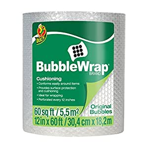 Duck Brand Bubble Wrap Original Cushioning, 12 Inches Wide x 60 Feet Long, Single Roll (1061835)