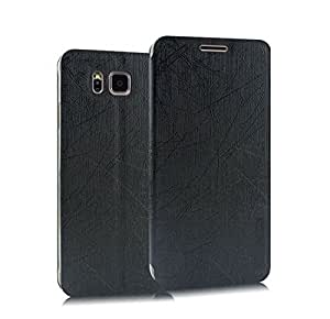 Heartly Premium Luxury PU Leather Flip Stand Back Case Cover For Samsung Galaxy Alpha 4G SM-G850FQ - Best Black