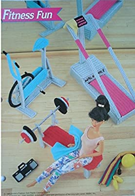 """Barbie or Fashion Doll Dollhouse Furniture """"Fitness Fun"""" Weight Bench, Exercise Bike, Treadmill PLASTIC CANVAS PATTERN From Annie's"""
