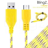 TheBlingZ.® 1M meter Micro USB Strong Braided Data Sync Charger Cable for Nokia HTC Blackberry Samsung Galaxy S S2 S3 S4 Note 2 ACE mini - Yellow