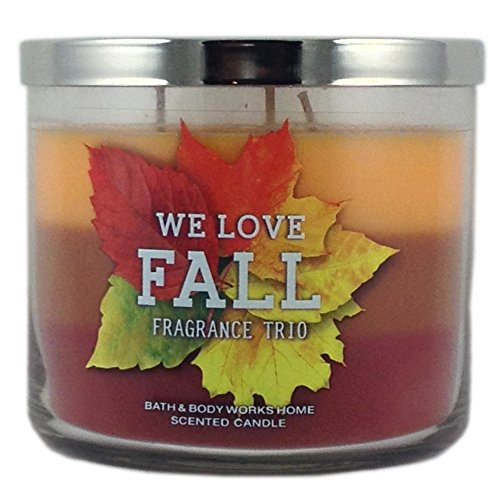 Bath & Body Works Home We Love Fall! Fragrance Trio Scented Candle 3 Wick 14.5 Oz Limited Edition 2015 Scent Layers of Sweater Weather Sweet Cinnamon Pumpkin Pumpkin Apple Bath Trio