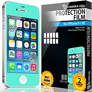 iPhone 4S Screen Protector, Caseology [HD Clarity] Apple iPhone 4/4S Screen Protector [2-Pack] [Turquoise Mint] [Lifetime Replacement Warranty] Color Film [Crystal Clear] Front Screen Protection iPhone 4/4S Screen Protector (for Apple iPhone 4/4S Verizon, AT&T Sprint, T-mobile, Unlocked)