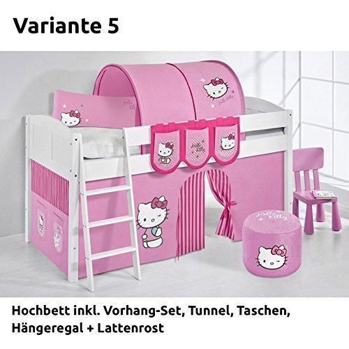 Hochbett Spielbett IDA Hello Kitty Rosa, mit Vorhang, weiß, Variante 5