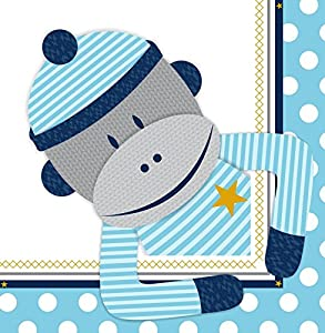 Sock Monkey Blue Lunch Napkins (20)