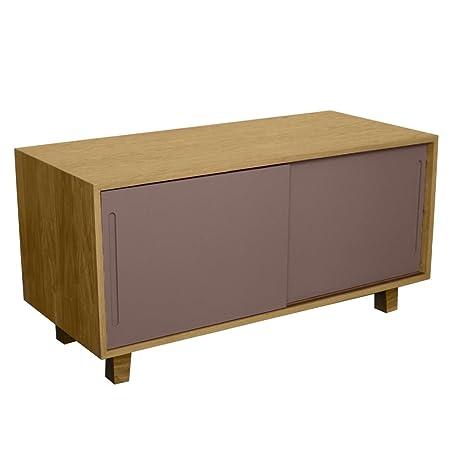 Fusion Living Table TV chêne rétro moderne et gris