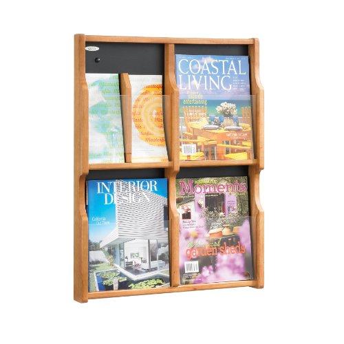 Safco Products Expose 4 Magazine 8 Pamphlet Display, Medium Oak/Black, 5704Mo front-716876